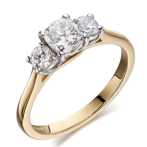 18ct Yellow Gold Three Stone Cushion and Brilliant Cut Ring Total 1.07ct
