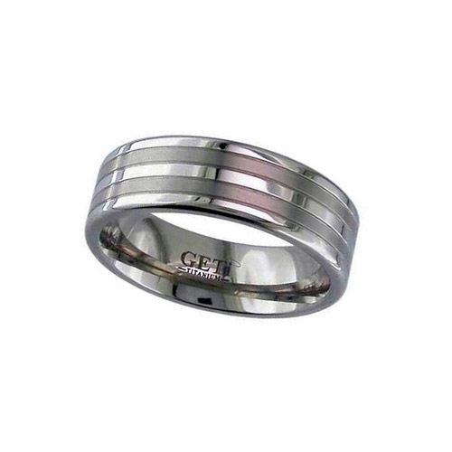 Geti Titanium Gents Flat Profile Ring With Two Satin Stripes And Polished Edges 2220GP 7mm