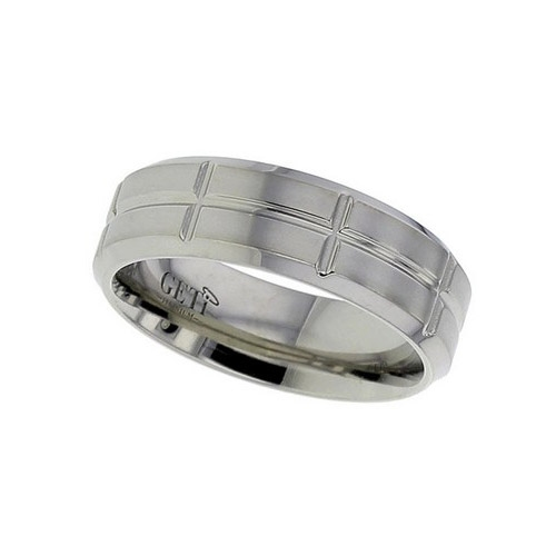 Geti Gents Flat Profile Titanium Ring With Chamfered Edges And Sectioned Design Pattern T142CH 7mm