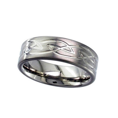 Geti Gents 7mm Flat Profile Titanium Ring With Celtic Knot Detail 2259