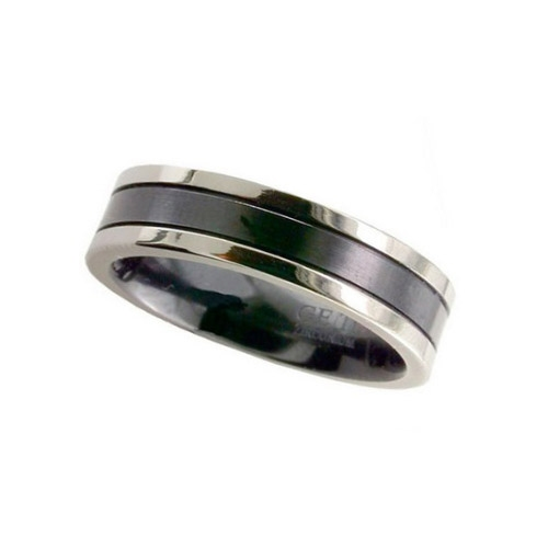 Geti Gents Flat Zirconium Ring - Natural Edges/Black Centre 4018GRB 7mm