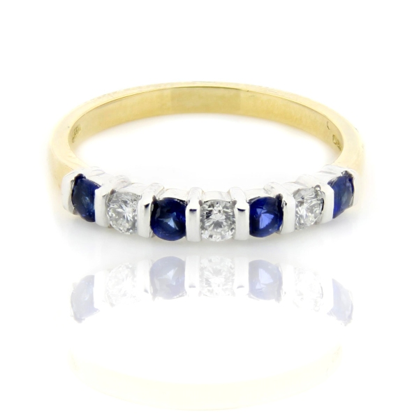 18ct Yellow And White Gold Bar Set Sapphire And Diamond Eternity Ring