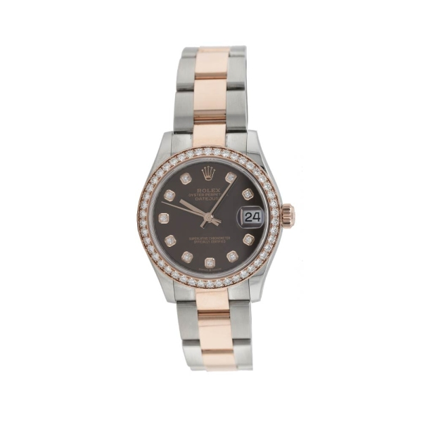 Pre Owned Rolex Datejust 31mm Steel and Rose Chocolate Diamond Dial M278381RBR-0027