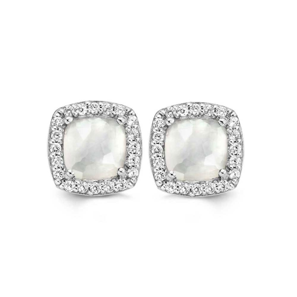 Ti Sento Square Mother Of Pearl/CZ Cluster Earrings 7676MW