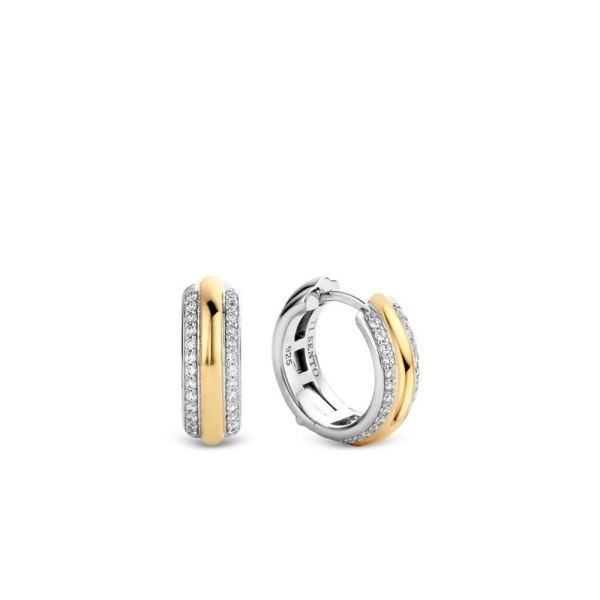 Ti Sento Silver/Gold Plated CZ Huggie Earrings 7786ZY