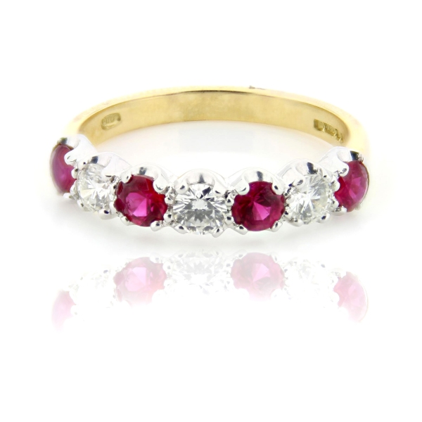 18ct Yellow And White Gold Brilliant Cut Ruby And Diamond Eternity Ring