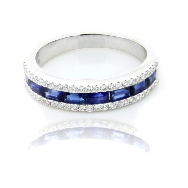 18ct White Gold Baguette Cut Sapphire And Brilliant Cut Diamond Eternity Ring