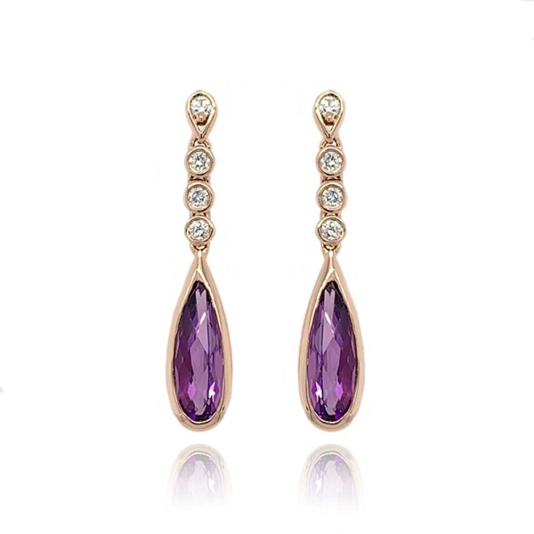 9ct Rose Gold Amethyst and Diamond Dropper Earrings