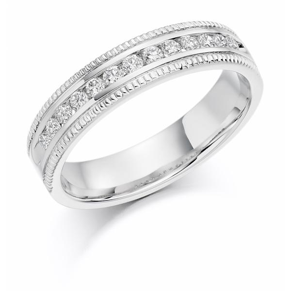 9ct White Gold Diamond Set Millgrain Edged Ring .25ct