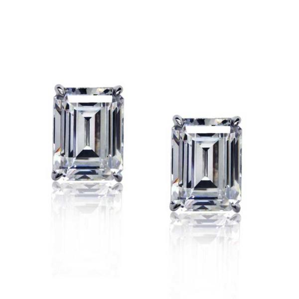 Carat 9ct White Gold Bailey Emerald Cut Stud Earrings CE9KW-BAIL-W75