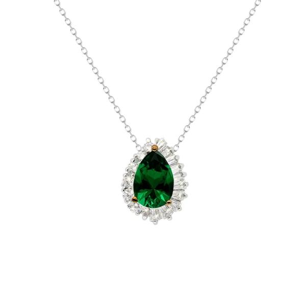 Carat Silver Eleanor Emerald Green Pendant CN925W-ELEA