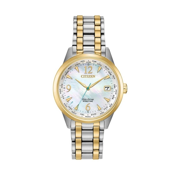 Citizen Eco-Drive World Time Two-Tone MOP Watch FC8004-54D