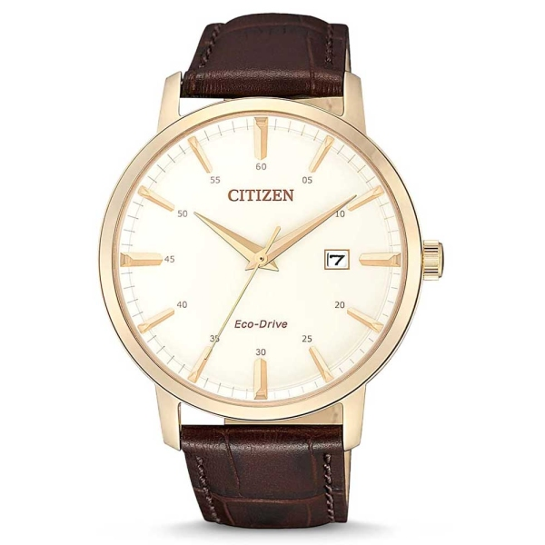 Citizen Eco Drive Gold Plated Brown Strap Watch BM7463-12A