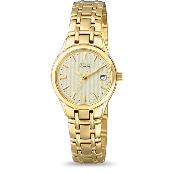 Citizen Ladies Eco Drive Gold Plated Bracelet Watch EW1262-55P