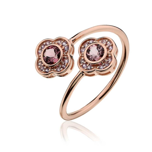 Clogau 9ct Rose Gold Pink Tourmaline & Purple Sapphire Jewel Bloom Ring - MGR