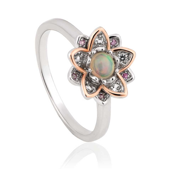 Clogau Silver & 9ct Gold Lotus Ring Opal Centre With Pink & White Topaz Surround - 3SLTUR/P