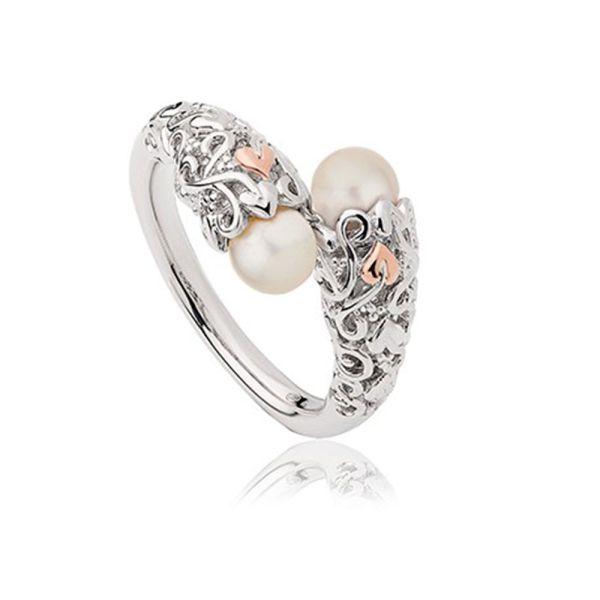 Clogau Silver & 9ct Gold Tree of Life Pearl Ring 3STOLPR4/O