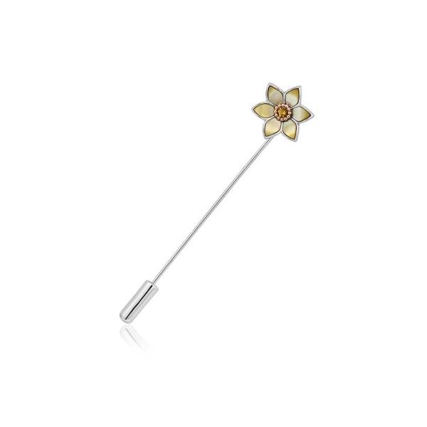 Clogau Silver 9ct MOP Citrine Daffodil Lapel Pin 3SDSP4