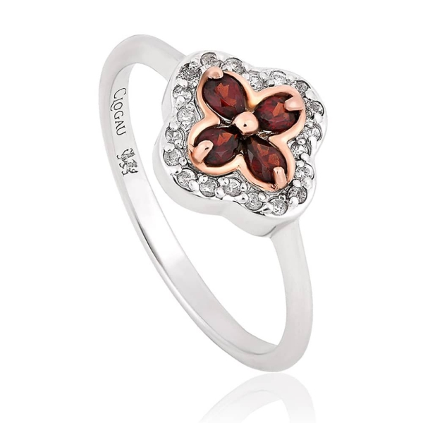 Clogau Silver and 9ct Tudor Court Garnet Ring 3STDCRR