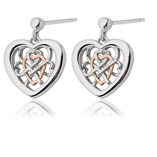Clogau Silver and 9ct Welsh Royalty Heart Stud Earrings 3SWLRE