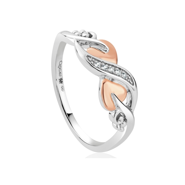 Clogau Silver, 9ct Gold & White Topaz Tree of Life Vine Ring - 3STOLCDR