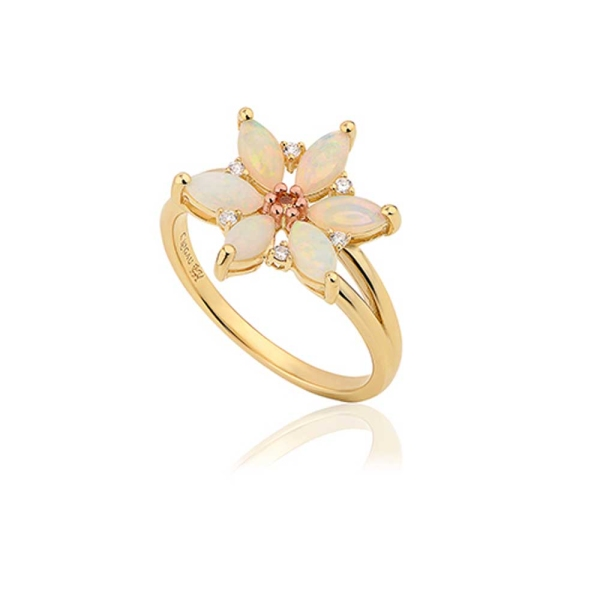 Clogau Snowdon Lily Opal and Diamond Ring OSLR