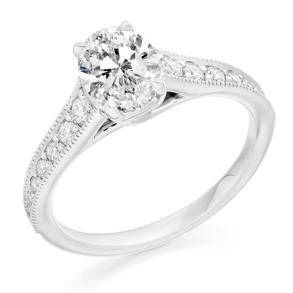 Platinum 1.09ct Oval Diamond with Diamond Grain Set Shoulders .35ct