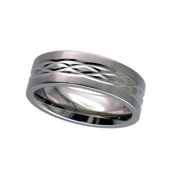 Geti 7mm Gents Flat Profile Titanium Ring With Celtic Knot Design T017