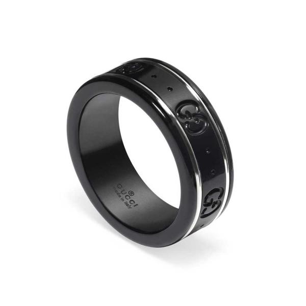 Gucci White Gold and Black Corundum Icon Thin Band Ring YBC225985001017
