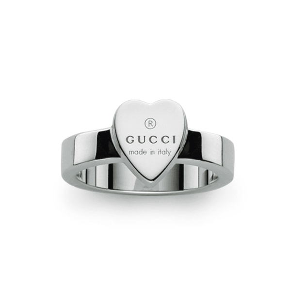 Gucci Silver Trademark Heart Shaped Ring