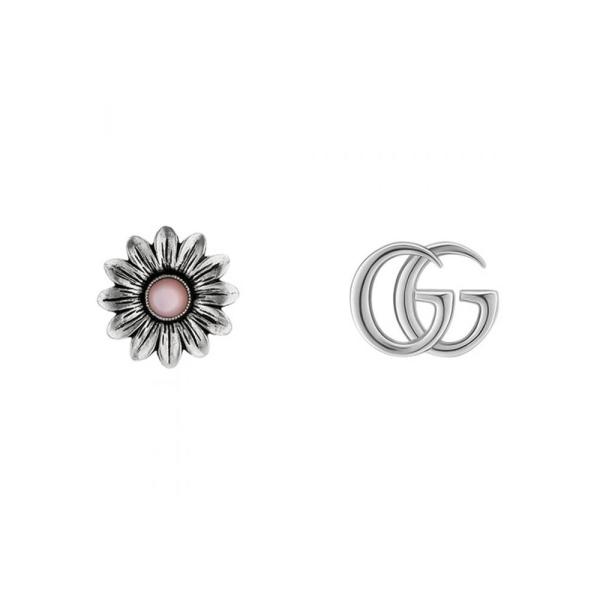 Gucci Silver Marmont Pink MOP GG Stud Earrings YBD52734400200U
