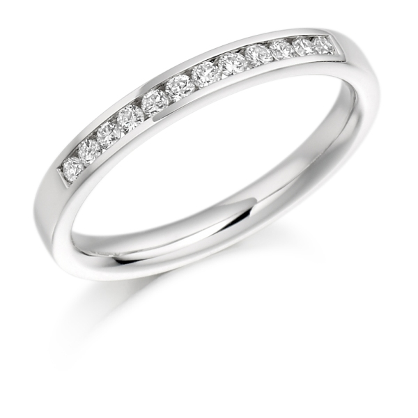 Platinum 2.6mm Round Brilliant Diamond Channel Set Band .20cts