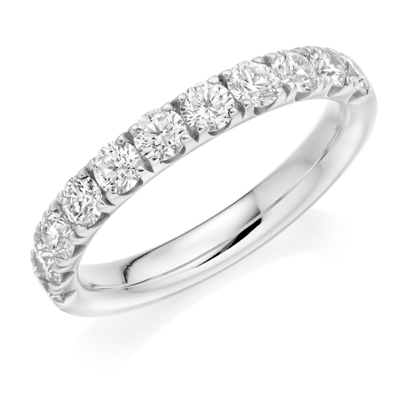 Platinum 11 Diamond Claw Set Half Eternity Ring 1.00cts