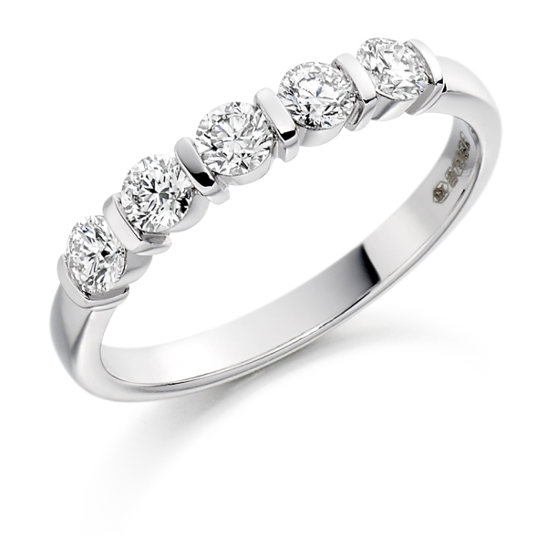 Platinum 5 Stone Diamond Ring Bar Setting .50cts