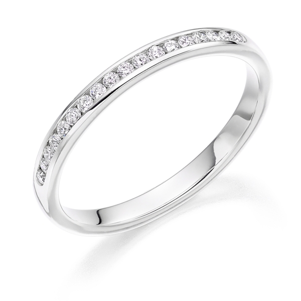 Platinum 2.4mm Round Brilliant Diamond Channel Set Band .20cts