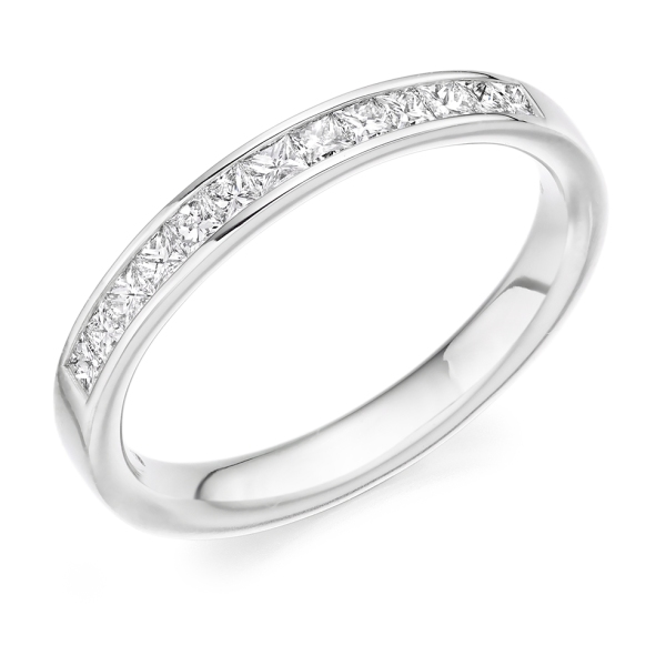 Platinum Princess Cut Diamond Channel Set Band .45cts
