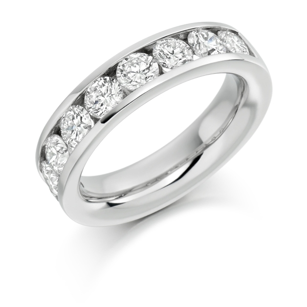 Platinum 7 Stone Brilliant Cut Channel Set Band 1.50cts