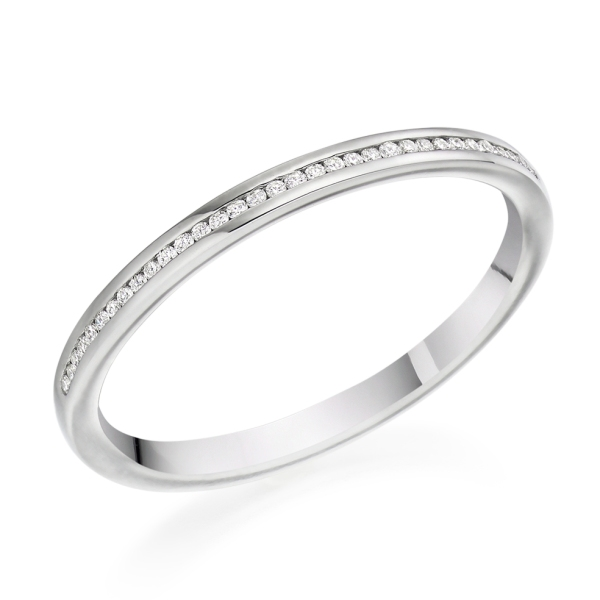 Platinum 1.8mm Round Brilliant Cut Channel Set Band .07cts