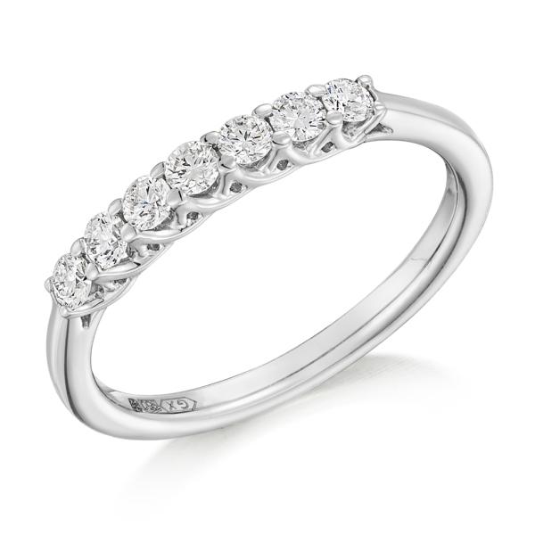 Platinum 7 Stone Brilliant Cut Eternity Ring .35ct