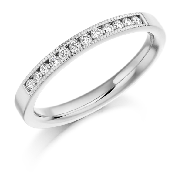 Platinum Round Brilliant Cut Diamond Millgrain Setting .20cts