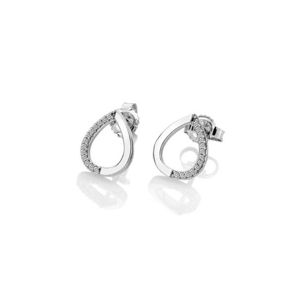 Hot Diamonds 9ct White Gold/Diamond Teardrop Stud Earrings GE131
