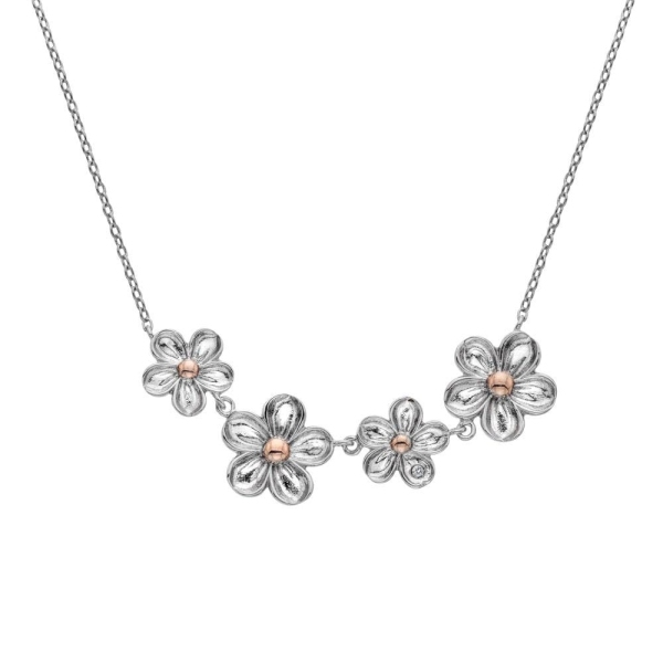 Hot Diamonds Silver/RG Diamond Forget Me Not Necklace DN140