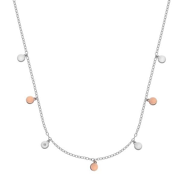 Hot Diamonds Silver and Rose Plated Accents Monsoon Necklace DN137