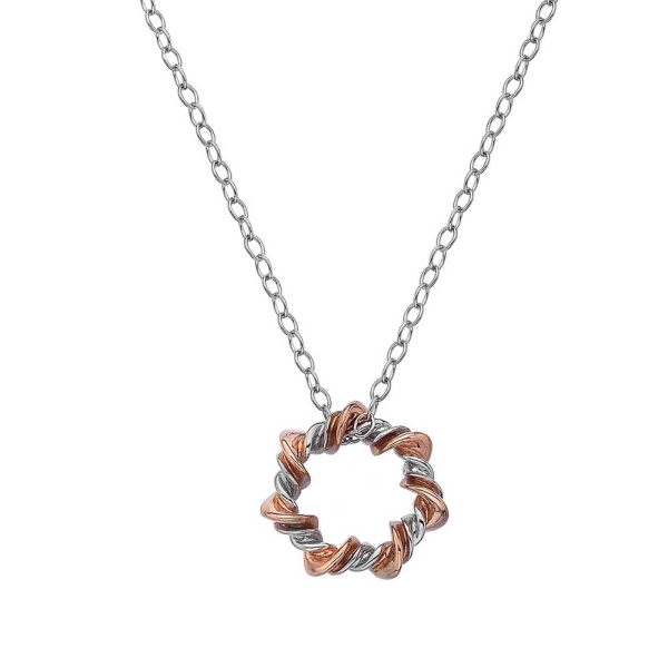 Hot Diamonds Silver and Rose Plated Accents Vine Pendant DP753