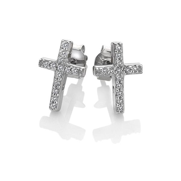 Hot Diamonds Silver Bliss Micro Cross Earrings DE552