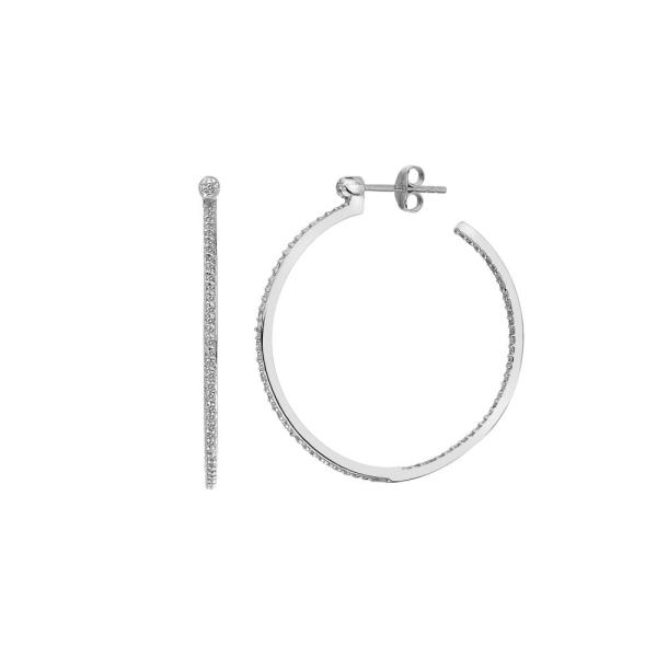 Hot Diamonds Silver White Topaz Large Hoop Earrings DE624