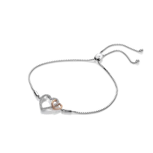 Hot Diamonds Togetherness Silver and Rose Plated Heart Bracelet DL590