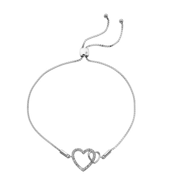 Hot Diamonds Togetherness Silver Hearts Bracelet DL589