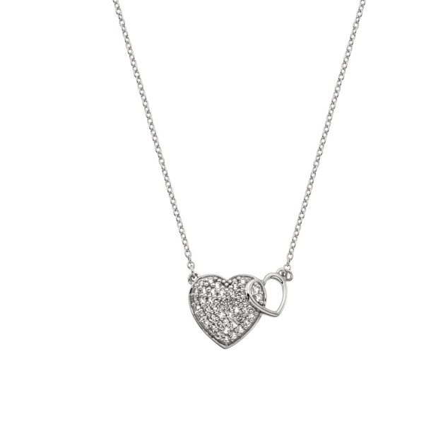Hot Diamonds Togetherness White Topaz Hearts Necklace DP730