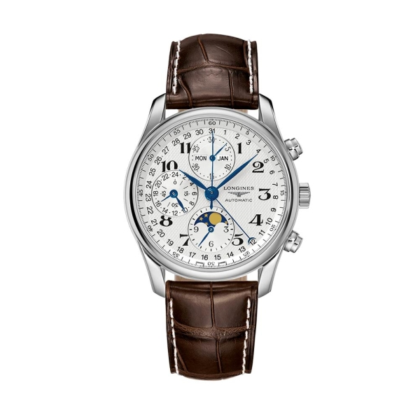 Longines Master Silver Chronograph Brown Strap L2.673.4.78.3